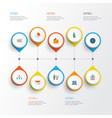 business flat icons set collection of envelope vector image vector image