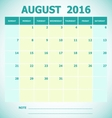 Calendar August 2016 week starts Sunday