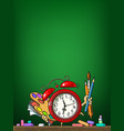 cartoon alarm clock with school supplies on vector image vector image