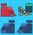 Cash register and money vector image vector image