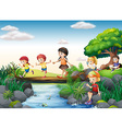 Children and stream vector image vector image