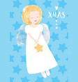 christmas angel greeting card cute little angel vector image