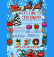 christmas holiday sketch poster for new year card vector image vector image