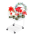 Christmas Item and Gift Box in Shopping Cart vector image vector image