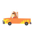 colored kids transport with cute little bull vector image vector image