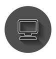 computer in line style monitor flat icon with vector image vector image