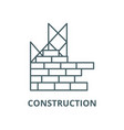 construction building brick wall line icon vector image vector image