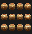 currency coins metallic bronze with highlights set vector image vector image