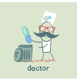 Doctor throws a pill vector image vector image
