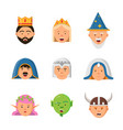 fairytale avatars collection fantasy game vector image vector image