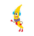 funny banana character in winter clothes vector image
