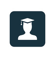 graduate student icon Rounded squares button vector image