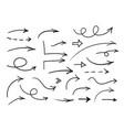 hand drawn arrows set black doodle vector image vector image