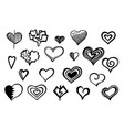heart hand drawn style sketch set vector image