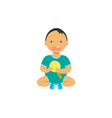 little baby boy hold toy rattle happy children vector image