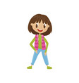 lovely cartoon girl character in fashionable vector image