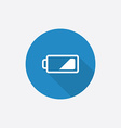 low battery Flat Blue Simple Icon with long shadow vector image vector image