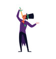magician showman a sword-swallower makes trick vector image vector image