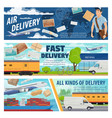 mail delivery airplane truck train and ship vector image vector image