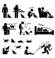 man and cat relationship pet stick figure vector image