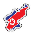 map of north korea with its flag vector image