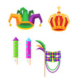 mardi gras carnival attributes icons set vector image vector image