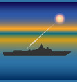 military ship vector image