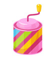 music box multicolor toy cylindrical shaped vector image vector image