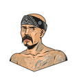 mustached latino gangster with chicano tattoos vector image vector image