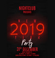 neon poster for happy new year party vector image vector image
