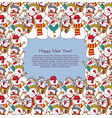 new year frame crowd snowmen greeting card vector image vector image