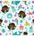 people color mermaid birthday sea vector image