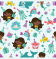 people of color mermaid birthday sea vector image