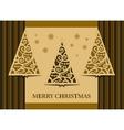 Postcard three Christmas trees retro vector image