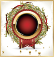 Red label with Decorative wreath vector image vector image