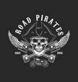 road pirates human skull in pirate hat with