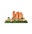 rocky mountains with green forests trees isolated vector image vector image