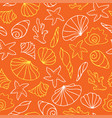 seashells on orange background vector image vector image