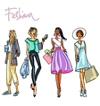 Set of pretty stylish women vector image