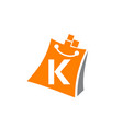 shopping online initial k vector image vector image
