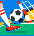 soccer player with football ball against the vector image