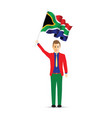 south africa flag waving man vector image vector image