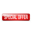 special offer red square 3d realistic isolated vector image vector image
