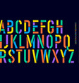 stencil font colorful condensed alphabet and line vector image