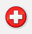 sticker medical white cross vector image vector image