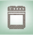 stove sign brown flax icon on green vector image