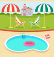 summer day near pool vector image vector image