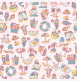 summer travel and beach sketch seamless pattern vector image vector image
