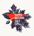 super autumn sale abstract background with leaves vector image vector image