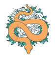 tattoo style icon a snake and roses vector image vector image